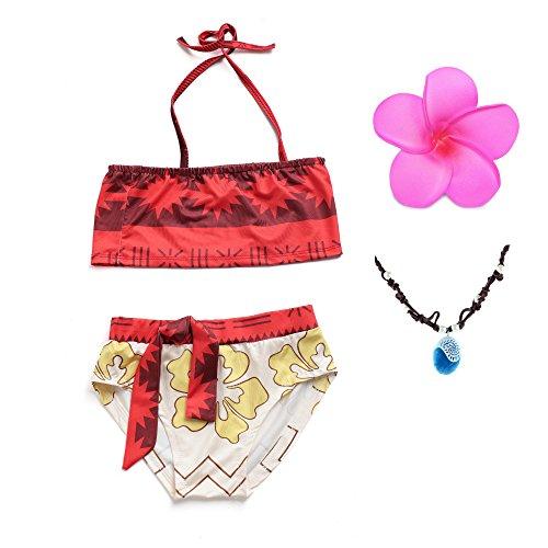 MUABABY Baby Girl Swimwear Digital Print Moana Adventure Bikini with Necklace and Flower (5-6 Years, Red-0226)