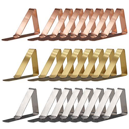 DBAILY Tischclips, 24 Stück Tischdeckenclips aus Edelstahl Tischtuchklammern für Draußen Esszimmrtische Zuhause Picknicks Im Freien Geeigenter Tischdeckenhalter(Silber, Gold, Roségold)