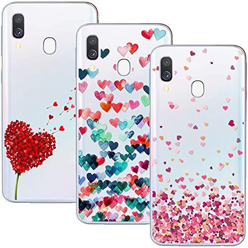 Young & Ming Compatibile con Cover Galaxy A40, (3 Pack) Morbido Trasparente Silicone Custodie Protettivo TPU Gel Case, Amore