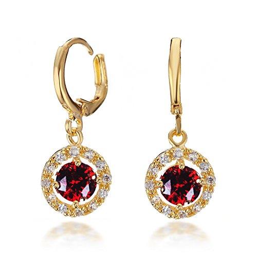 Gemini Ohrhänger (Gold 18K), Rubin Stein eingefasst mit Kristall Stein Elementen, Rundform, sehr leicht, für gehobene Anläße, beliebt bei Girls & Damen, 2,5 cm Länge