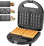 KotiCidsin Sandwich Maker, Waffle Maker, Sandwich Grill, 750-Watts, 3-in-1 Detachable Non-stick Coating, LED Indicator Lights, Cool Touch Handle, Anti-Skid Feet, Black (Black 1) (Black 1)