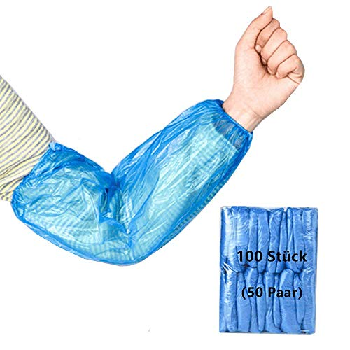 Heyijia Ärmelschoner, 100 Stück Staubdichter Kunststoff Unterarmschutz Mit 2 Dehnbaren Gummibändern, Für Küche Zuhause Büro (50 Paar)
