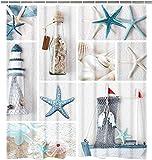 Nautical Shower Curtain, Beach Ocean Shower Curtain for Bathroom, Coastal Seascape Shower Curtain with 12 Hooks, Fabric Seashell Beach Themed Shower Curtains, 72 x 72 Inches
