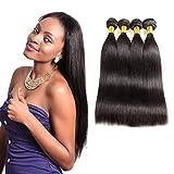 Huarisi 4 paquetes de pelo brasileños virgen recta tejidos 20 22 24 26 pulgadas 100 extensiones de cabello humano con doble dibujo