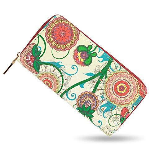 BLUZELLE Billetera Cartera de piel sintético, Monedero larga tarjetero con bolsillo para teléfono móvil por ej. iPhone Samsung, con cremallera para monedas y tarjetas, Designs:Boho Flowers