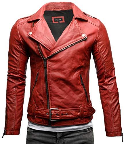 Crone Fynn - Giacca da uomo in pelle vera o ecopelle, con cintura e colletto reversibile Heavy Washed Red (pelle bovina). XL