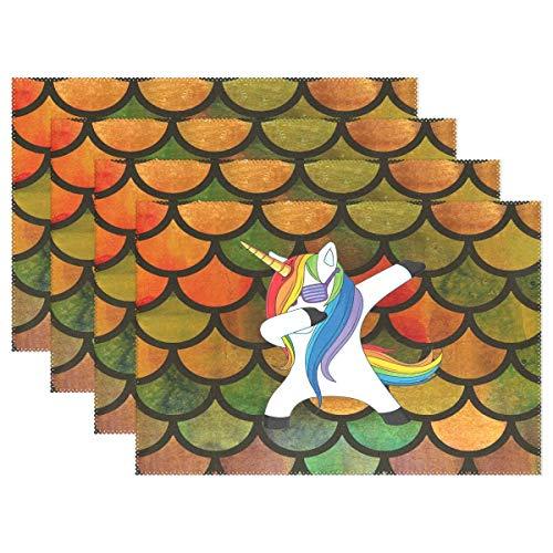Promini Hitzebeständige Tischsets, lustiges Einhorn, Meerjungfrau, Fischschuppen, waschbar, Polyester, Rutschfest, waschbar, Platzsets für Küche und Esszimmer, 4 Stück