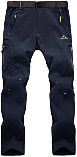 BIYLACLESEN Men's Winter Fleece-Lined Softshell Pants Outdoor Windproof Hiking Camping Ski Snowboard Pants Zipper Pockets