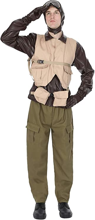 1940s Men's Costumes: Sailor, Zoot Suits, Gangsters, WW2 Male WW2 Fighter Pilot Adult Costume  AT vintagedancer.com