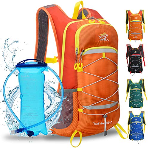 WLZP Mochila de hidratación con 2L Bolsa de Agua, 25L Mochilas Hidratacion MTB ,Vejiga de Agua Mochila Aplicar para hombresy Mujeres esquí, Funcionamiento, Senderismo, Ciclismo