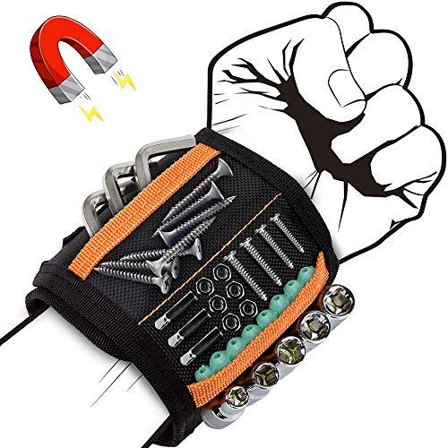 Eyscoco Magnetischer Armbänder,Bestes Männer Geschenke,Magnetische Armband mit 15 Leistungsstarken Magneten, Gadgets Für Männer für Schrauben Nägel Drill Best Werkzeug für Männer, Papa, Zimmermann