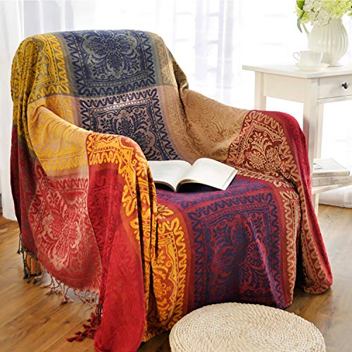 MayNest Bohemian Tribal Throws Blankets Reversible Colorful Red Blue Boho Hippie Chenille Jacquard Fabric Throw Covers Large Couch Furniture Sofa Chair Loveseat Recliner Oversized (Red, S:75x60)