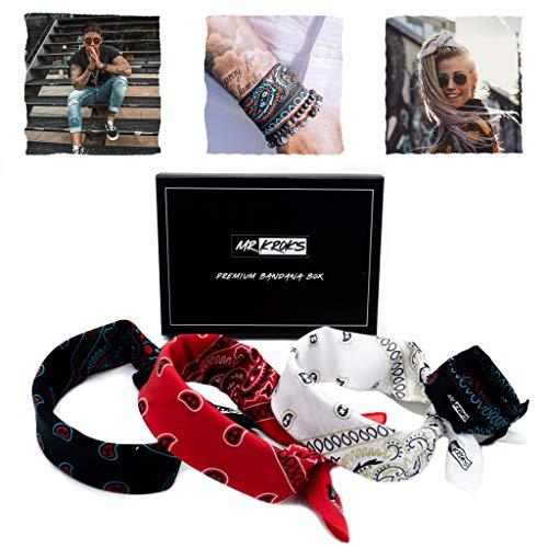 MRKROKS 4-Set   Premium Bandana + Box   Festival Outfit   Haarband   Halstuch   Motorrad   Stirnband   Bandana Kopftuch   Bindetuch   Handgelenk   Haarschmuck
