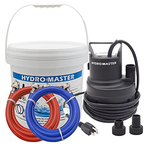 HYDRO MASTER Tankless Water Heater Flush kit,Includes 1/6HP Pump, 3.2 Gallon Pail with Screw Top Lid, Two 3/4-inch GHT x 6 FT Color Coded Rubber Hoses.