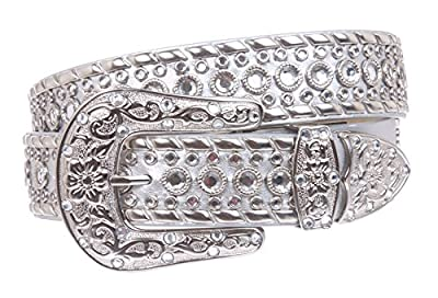 Western Rhinestone Silver Studded Leather Belt Color: Silver Size: S/M - 34