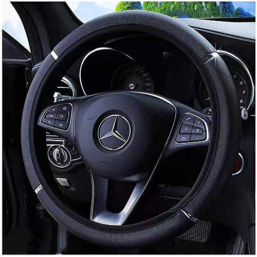ZHOL Universal 15-Inch Microfiber Leather Elastic Steering Wheel Cover, Comfortable, Environmentally Friendly, Odorless, Black Color
