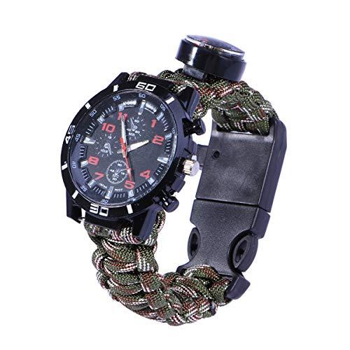 VORCOOL Multifunktionale Outdoor Survival Camping Sicherheit ausrüstung Werkzeuge rettungsseil Armband sicherheitsschirm Seil Uhr (Sldiercam)