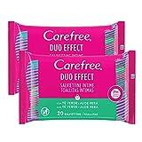 Carefree Toallitas Intimas Te Verde y Aloe 2 x 20 unidades 190 g - Pack de 6