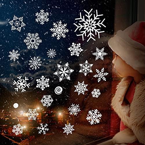112 Calcomanías de Ventana de Copos de Nieve de Navidad Pegatinas de Ventana Navideño de Copos de Nieve Estático Adhesivos de PVC Reutilizables para Adorno de Fiesta Invierno, 3 Hojas