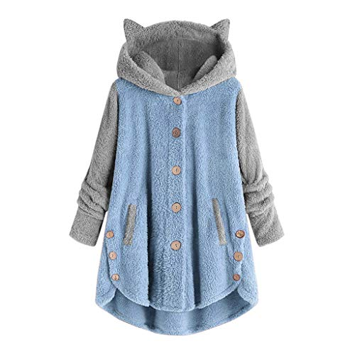 Moletom com capuz feminino de manga comprida e orelha de gato da aihihe, moletom com capuz de fleece e botão, quente, inverno, Azul, XX-Large