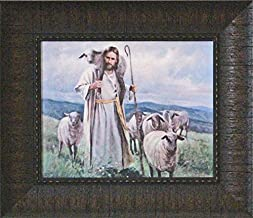 Framed Picture of Jesus Leading his sheep Good Shepherd by Del Parson