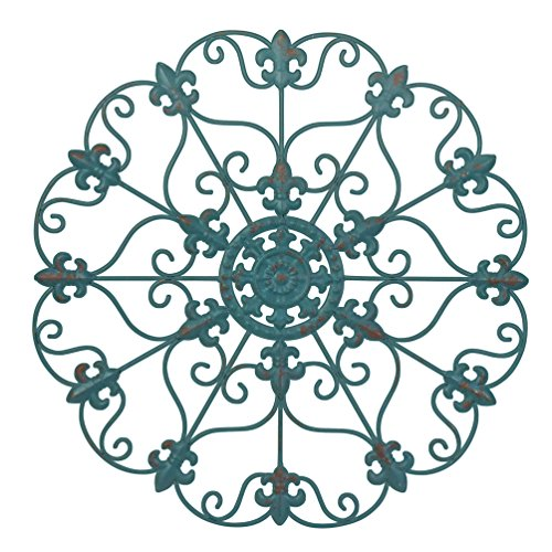 24' Hand Made Iron Wall Medallion, Home, Room Decoration, Home Decor 100% Lead Free Paint, Teal Color. Great Gift idea for Your Loved one!