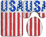 Taroot AA American-flag-usa-vector-17959289 Comfort Flannel Bathroom Rug Mats Set 3 Piezas Suaves