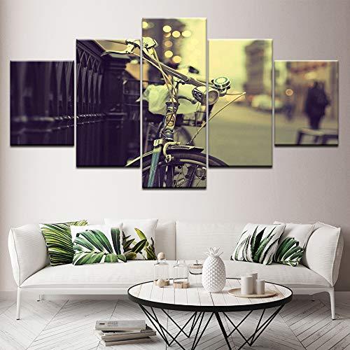 LVGUMM Leinwand Bild Wandkunst 175x90CM 5 StüCke Retro-Fahrrad auf den Straßen von London Vlies Leinwandbild Modernes Drucken Poster Tapete Modulare Wallpaper HD Gedruckt WandMalerei Wohnzimmer Wohnun