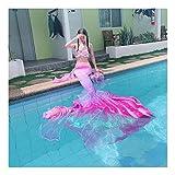 FHT Coda di Sirena Ragazze per Bambini Coda di Sirena Ragazze per Bambini Costume Cosplay Costumi da Bagno Code A Sirena con Costume da Bagno Bikini Monopinna Set di Bikini(Color:Stile E)