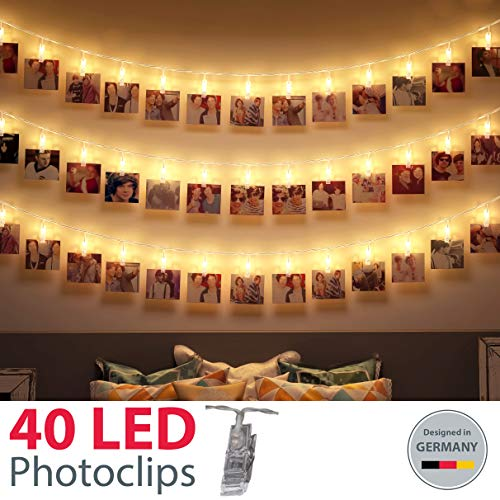 B.K.Licht I 5 Meter LED Fotolichterkette I 40 LED Photoclips I LED Lichterkette für Fotos I Foto-Clips I Transparent I Batterie betrieben I Polaroid