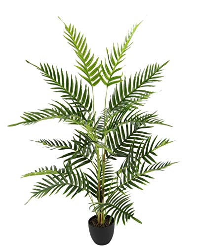 Flair Flower Kunstpflanze Areca Kunstbaum Goldfruchtpalme Dypsis Lutescens Palmwedel groß Tropische Zimmerpflanzen Zimmerpalme Madagaskar-Palme Künstliche Blumen Grünpflanzen, grün, 110 cm