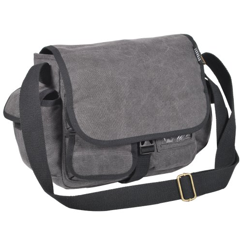 Everest Luggage Canvas Messenger, Charcoal, Charcoal, One Siz