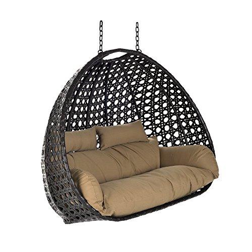 Home Deluxe - Polyrattan Hängesessel - Korb Twin braun - inkl. Sitz- und Rückenkissen - Hängekorb Hängestuhl Hängeschaukel
