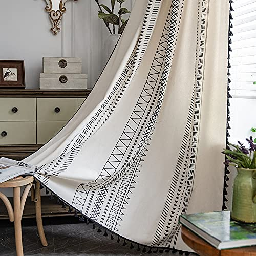 """YOMIMAX Boho Print Curtains,Subtle Curtains for Living Room,Window Decor Privacy Semitransparent Light Filtering for Office (1 Piece,59""""x 94"""")"""