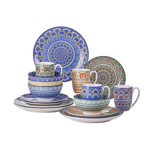 JSJJRGB Plato de Cena Conjunto de vajillas de Porcelana de patrón de Color Mezcla de 16/32/48/48 Piezas con Placa de Cena, Placa de Postre, Taza, Taza (Color : 48 Piece)