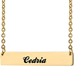 Love Wind Gold Personalized Custom Name Necklace Engraved Bar Monogram Necklace