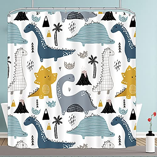 Riyidecor Cartoon Dinosaur Shower Curtain 72Wx72H Inch Boys Cute Kids Funny Animal Graffiti Dino Multi Color Children Fabric Waterproof Home Bed Bathtub Decor 12 Pack Plastic Shower Hooks RY-MSLQ