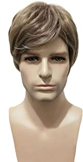BERON Men Wigs Short Straight Mix Ash Blonde Synthetic Wigs Come with Wig Cap (Mix Ash Blonde)