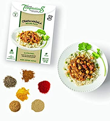 2-SERVING Indian Spice Set for Chana Masala or Chole Masala by Flavor Temptations, Cook from Scratch Indian Food for Beginners, Gluten-Free, Salt-Free