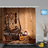 DAHALLAR Duschvorhang,Western Decor,American Texas Style Country Musik Gitarre Cowboystiefel USA Volkskultur,personalisierte Deko Badezimmer Vorhang,mit Haken,180 * 180