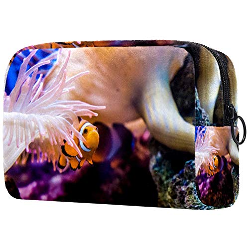 Cosmetic Bag Makeup Bags for Women, Small Makeup Pouch Travel Bags for Toiletries - Striped Fish