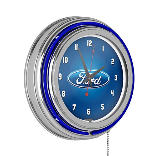 Trademark Gameroom Ford Chrome Double Rung Neon Clock - Ford Oval