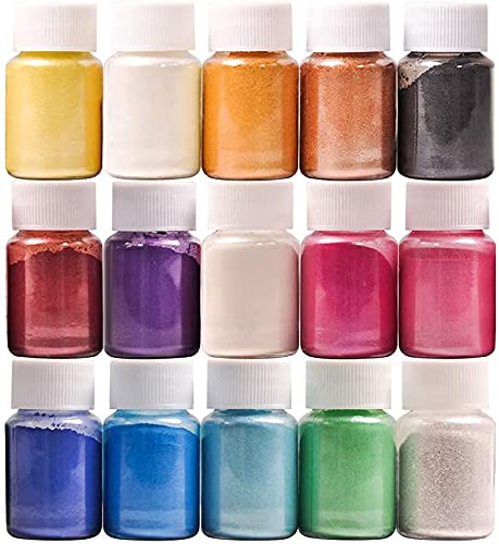Mica Powder, 15 Colors Epoxy Resin Dye Set, SEISSO Natural Pigment Powders Dyes for Epoxy Resin / DIY Cosmetic / Soap / Paint / Nail Arts Polish / Soy Wax Candle Making (10g/0.35oz)