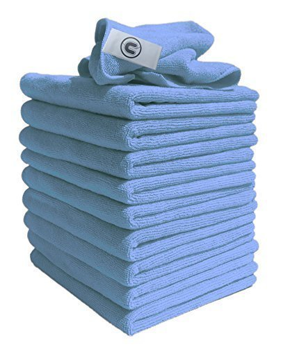 Microfibre Cloths Similar to Exel Magic Cleaning Cloths. Chemical Free Cleaning. Large Super Soft Premium Fibre, Washable Cloth Duster for Car, Motorbike, Domestic Appliances, Industrial use (Blue, 10)