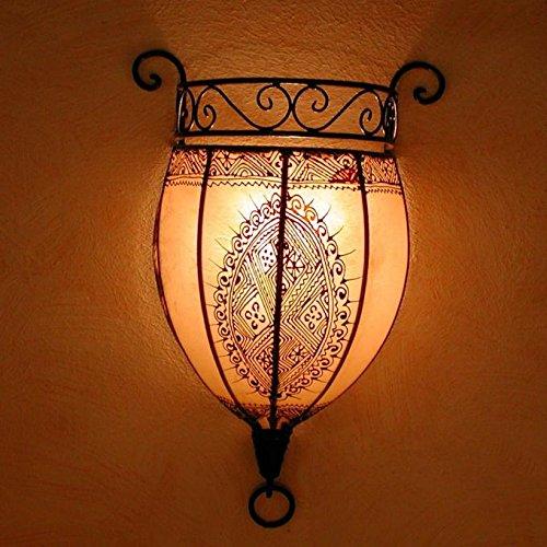 Orientalische Wandlampe marokkanische Wandleuchte Nakous weiss 44x29 cm (H/B) Gestell aus Eisen + Lampenschirm aus echtem Leder | Schöne handbemalte Henna-Lampe | Kunsthandwerk aus Marrakesch | L1087
