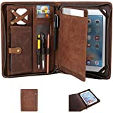 Leather Case for ipad Pro 11' Genuine Leather Smart Folio for 11-inch ipad pro 11 case with Pencil Holder Zipper Pocket Multifunctional iPad Leather Case for iPad 11 case /iPad 10.5/iPad 9.7 (Brown)