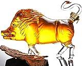 Decantador de Whisky Set Regalos para Hombres Tarro de Vino de Vidrio con Forma de jabalí, Decantador de Whisky de 1000 ml, Botella de Vidrio artístico Botella Artesanal, Artesanía de Vidrio