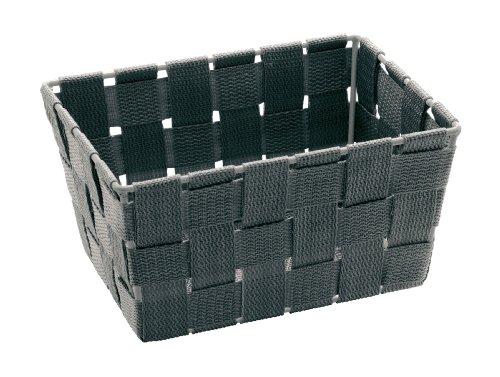 WENKO 21349100 Aufbewahrungskorb Adria Mini Grau - Badkorb,  rechteckig,  Polypropylen,  19 x 9 x 14 cm