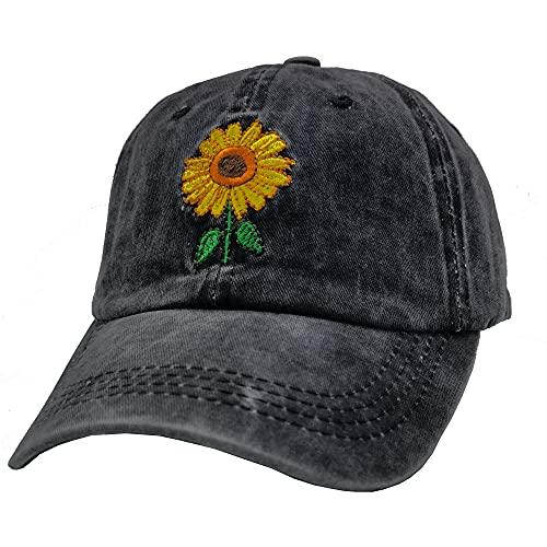 Waldeal Women's Embroidered Sunflowers Baseball Cap Adjustable Distressed Vintage Summer Dad Hat Black