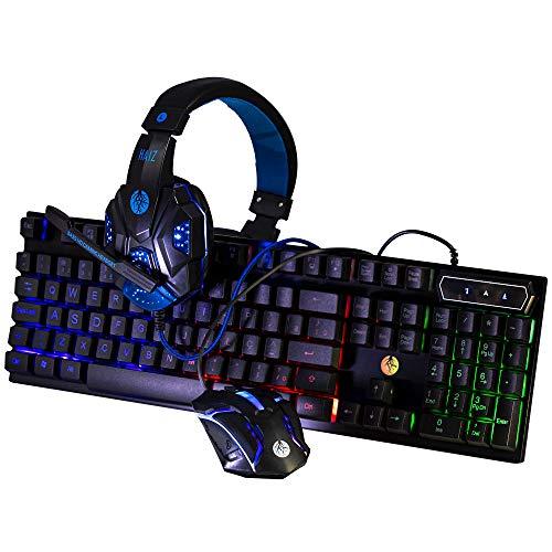 Kit Gamer Mouse 1600dpi, Headphone e Teclado Hz-9 Haiz Cor:Azul
